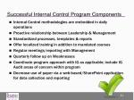 successful internal control program components