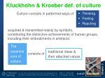 kluckhohn kroeber def of culture