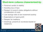 short term cultures characterized by