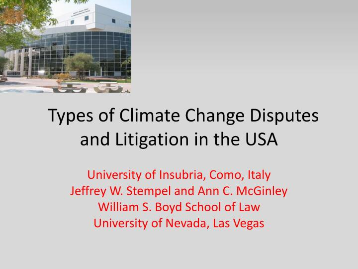 types of climate change disputes and litigation in the usa n.