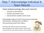 step 7 acknowledge individual team results
