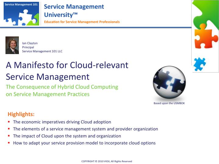 a manifesto for cloud relevant service management n.