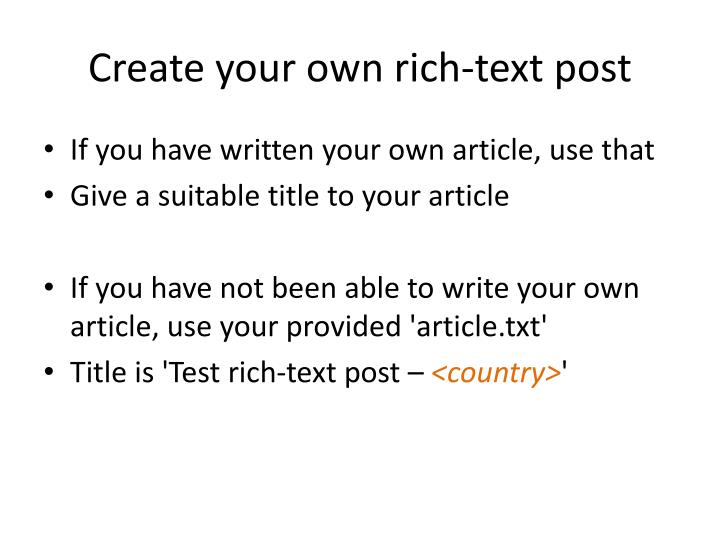Create your own rich-text post