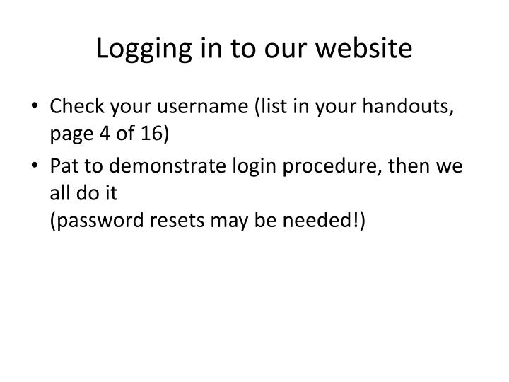 Logging in to our website