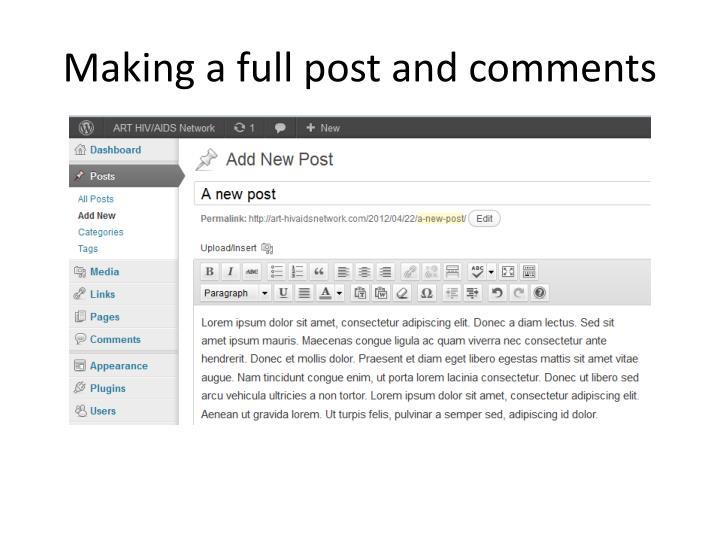 Making a full post and comments