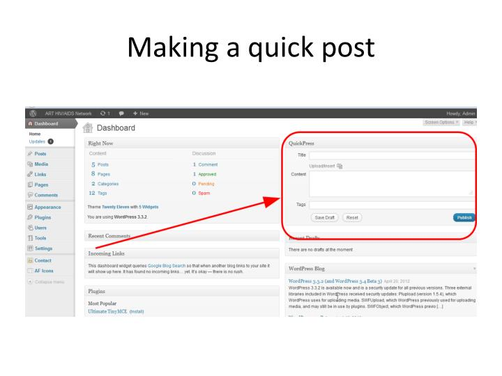 Making a quick post