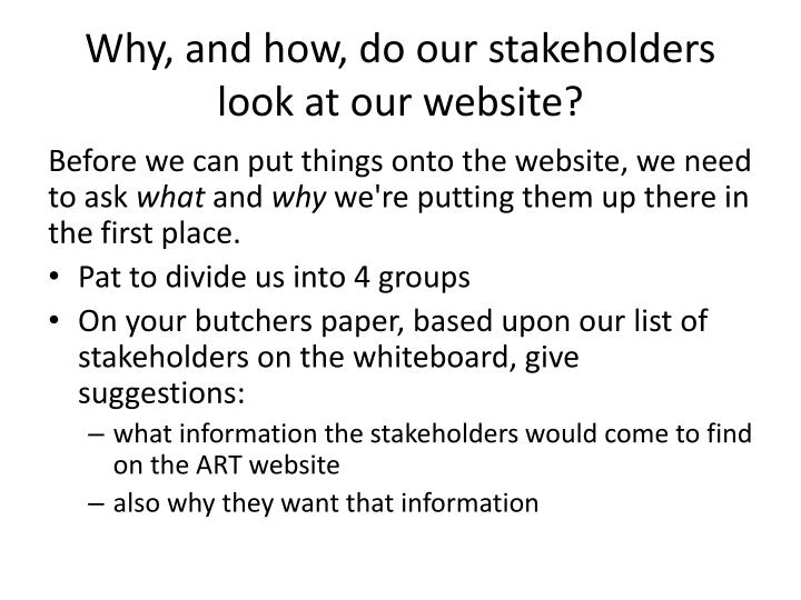 Why, and how, do our stakeholders look at our website?