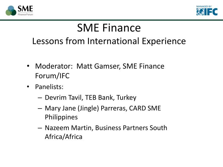 sme finance lessons from international experience n.