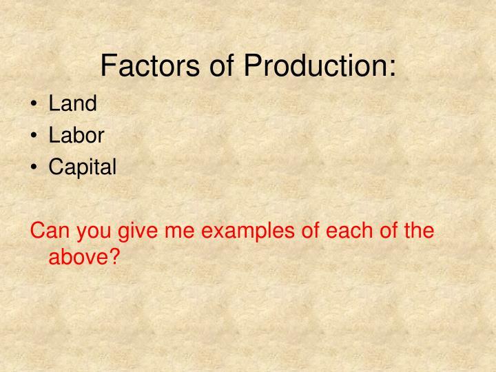 Factors of Production: