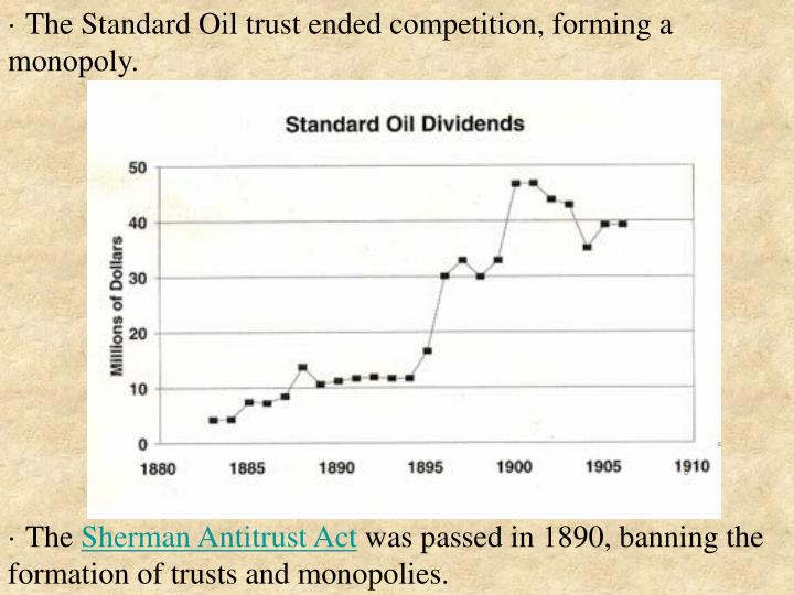 · The Standard Oil trust ended competition, forming a monopoly.