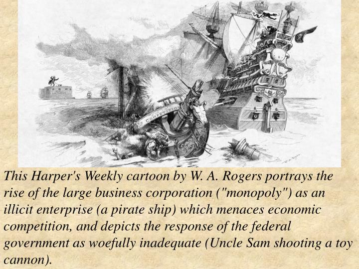 """This Harper's Weekly cartoon by W. A. Rogers portrays the rise of the large business corporation (""""monopoly"""") as an illicit enterprise (a pirate ship) which menaces economic competition, and depicts the response of the federal government as woefully inadequate (Uncle Sam shooting a toy cannon)."""