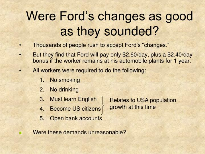 Were Ford's changes as good as they sounded?