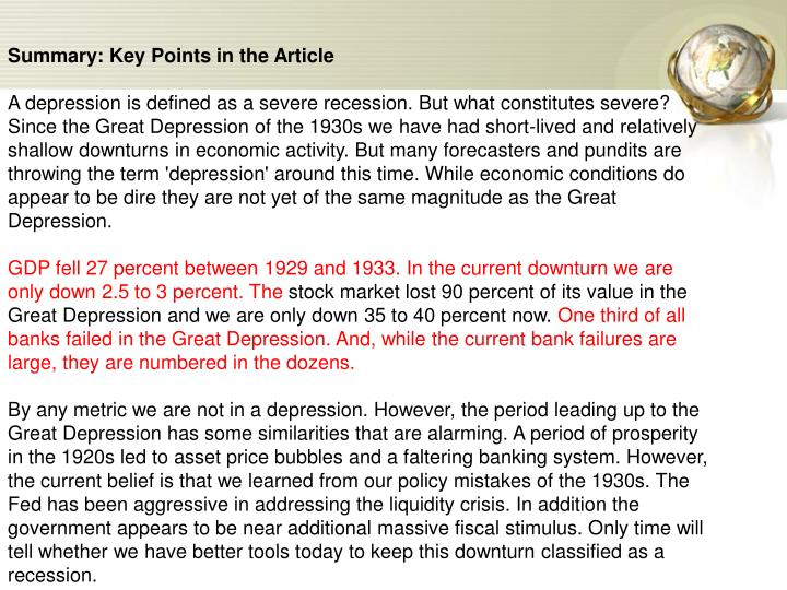 Summary: Key Points in the Article