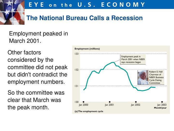 The National Bureau Calls a Recession