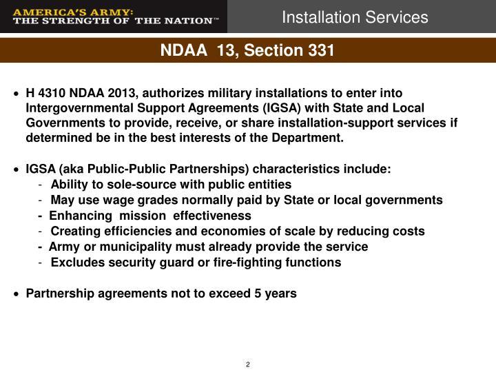 NDAA  13, Section 331