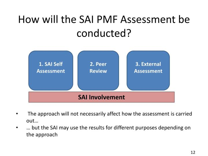 How will the SAI PMF Assessment be conducted?