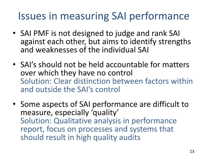 Issues in measuring SAI performance