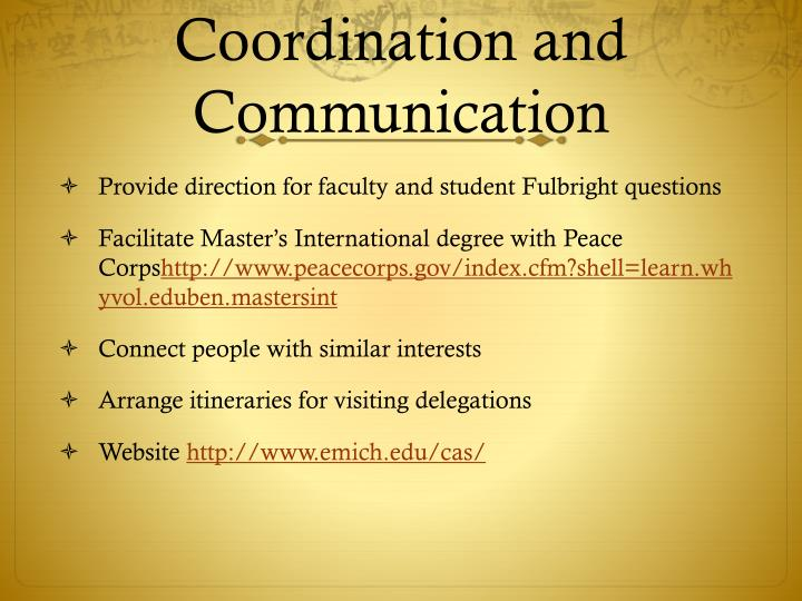 Coordination and Communication