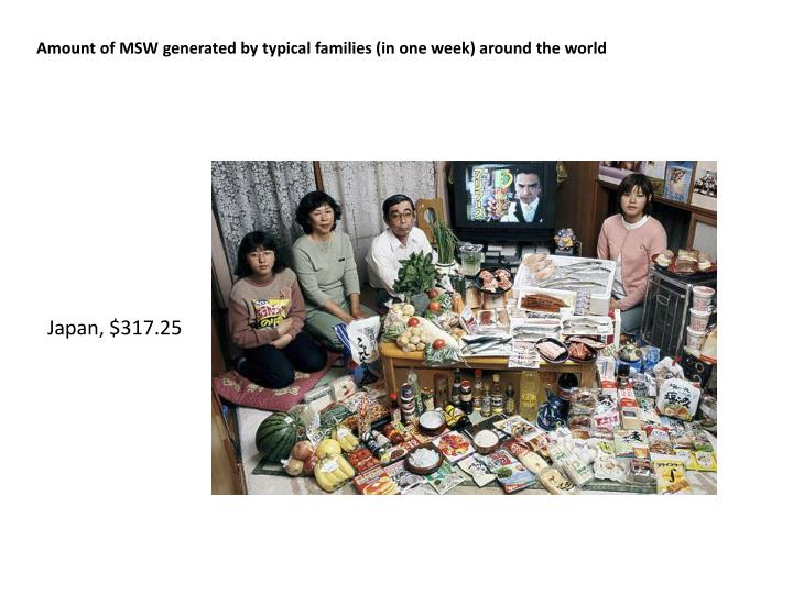 Amount of MSW generated by typical families (in one week) around the world