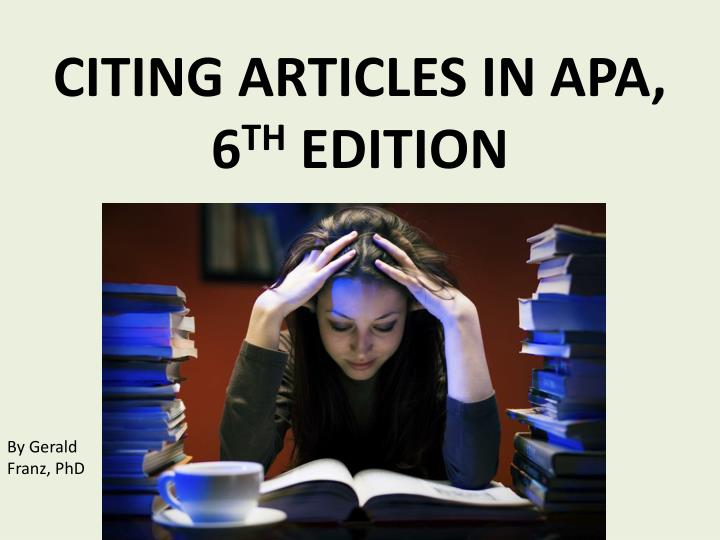 citing articles in apa 6 th edition n.
