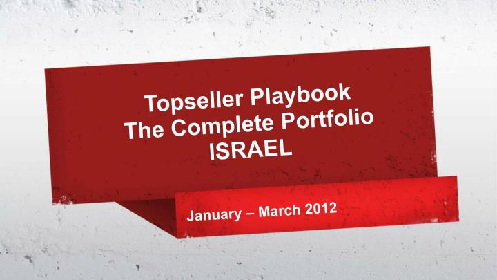 topseller playbook the complete portfolio israel n.