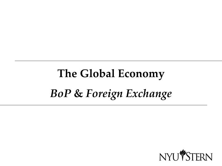 the global economy bop foreign exchange n.