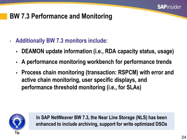 BW 7.3 Performance and Monitoring