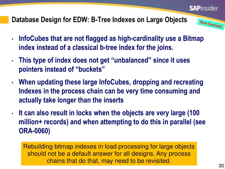 Database Design for EDW: B-Tree Indexes on Large Objects
