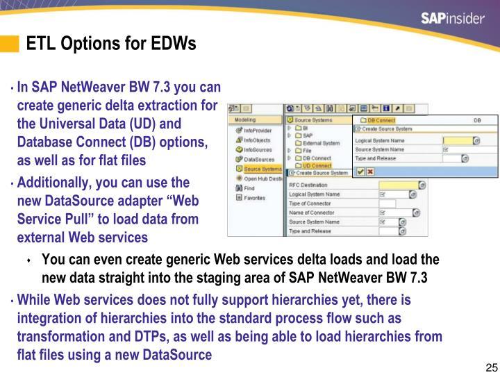 ETL Options for EDWs