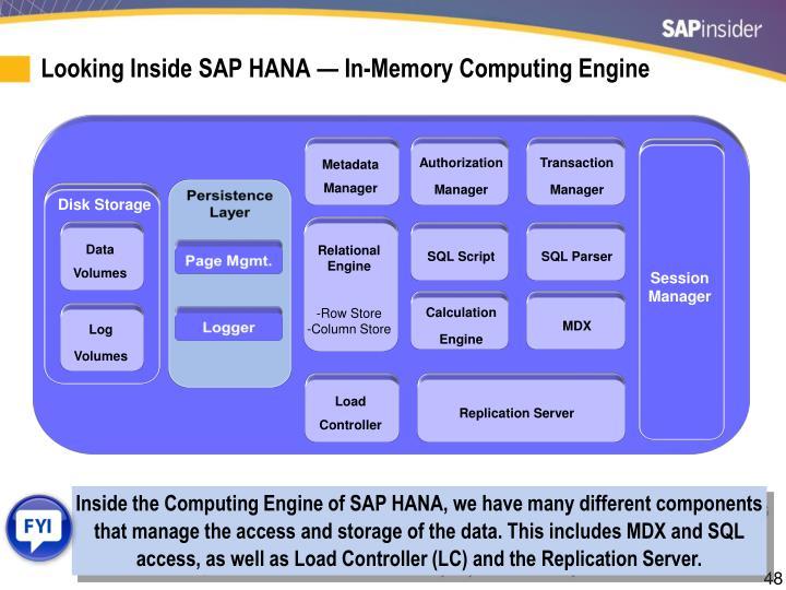 Looking Inside SAP HANA — In-Memory Computing Engine