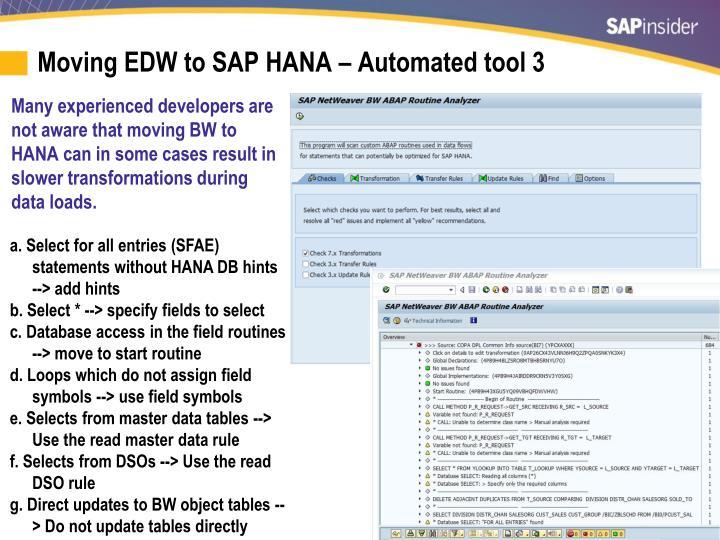 Moving EDW to SAP HANA – Automated tool 3