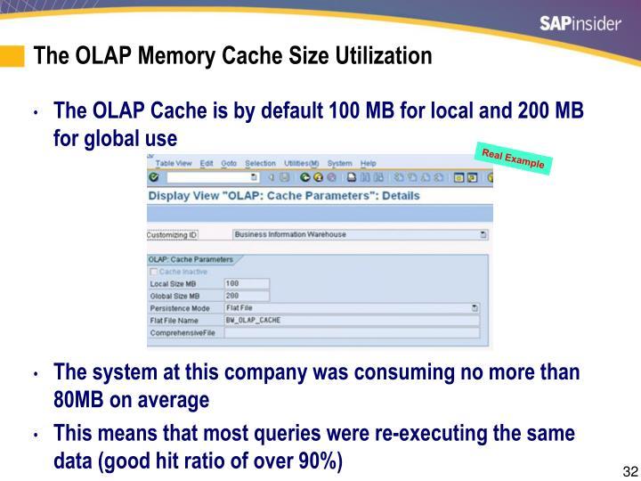 The OLAP Memory Cache Size Utilization