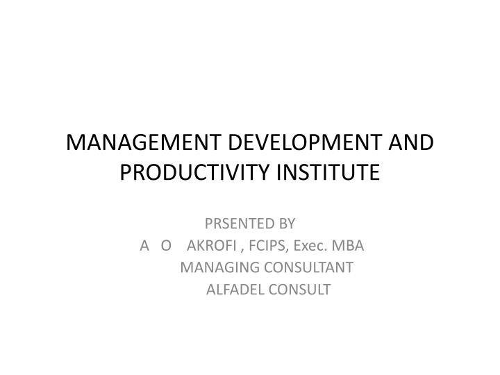 management development and productivity institute n.