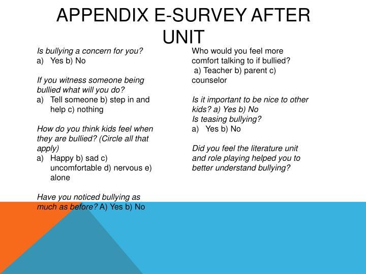 Appendix E-Survey After Unit