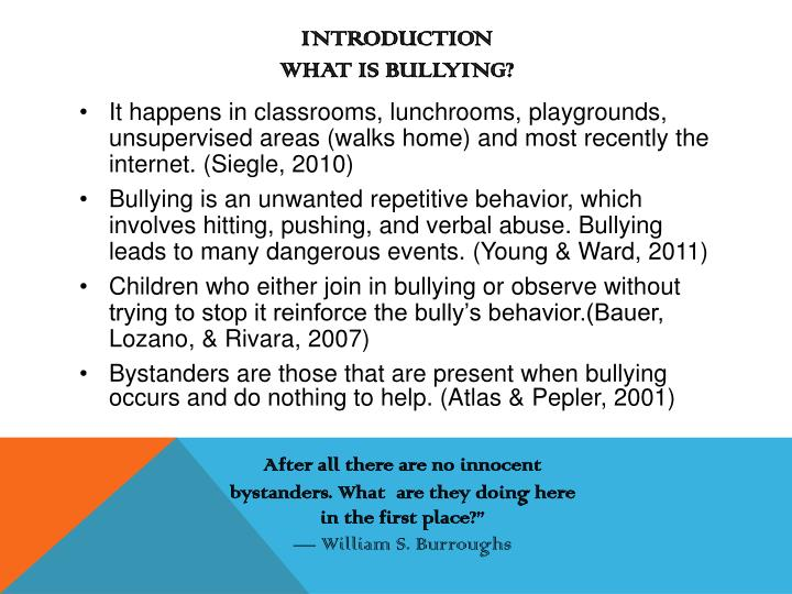 Introduction what is bullying