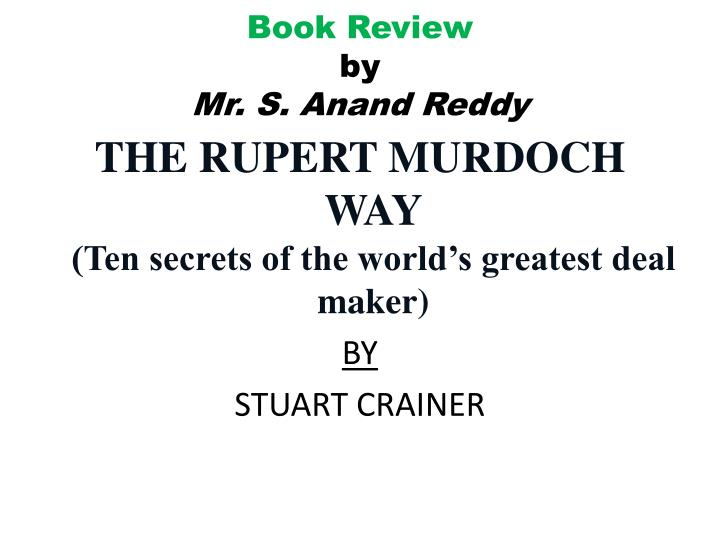 book review by mr s anand reddy n.