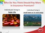 who do you think should pay more in insurance premium