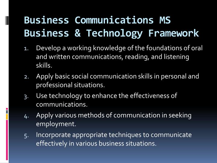 Business communications ms business technology framework