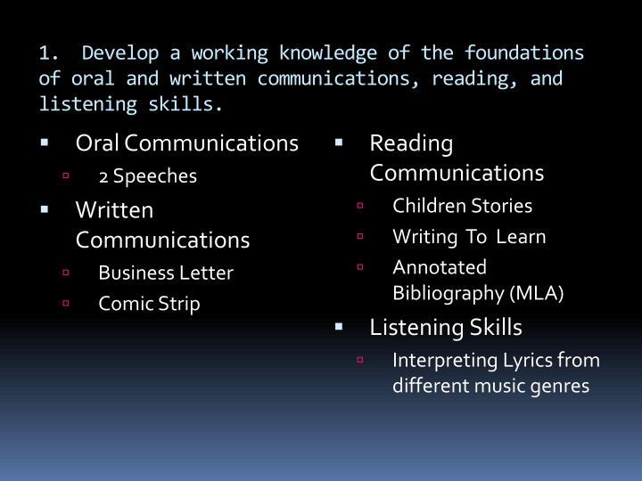 1.  Develop a working knowledge of the foundations of oral and written communications, reading, and listening skills.