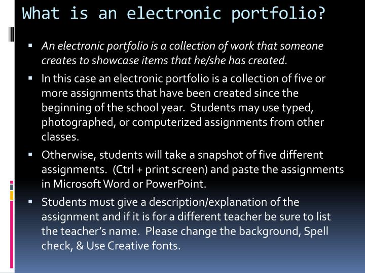 What is an electronic portfolio?