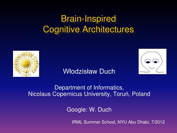 brain inspired cognitive architectures n.