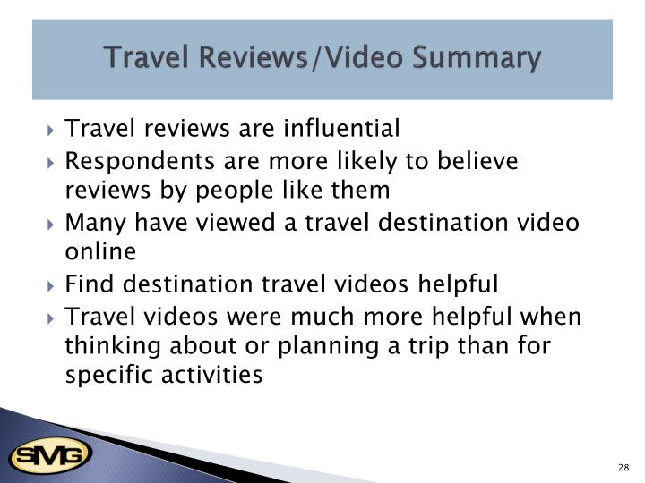 Travel Reviews/Video Summary