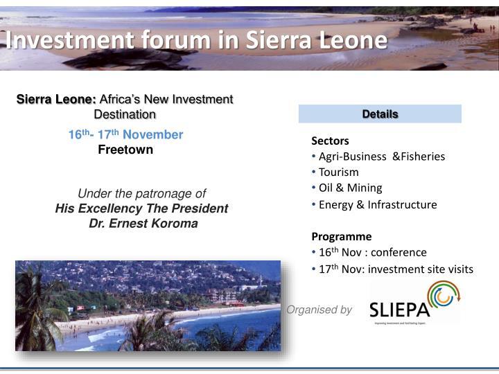 Investment forum in