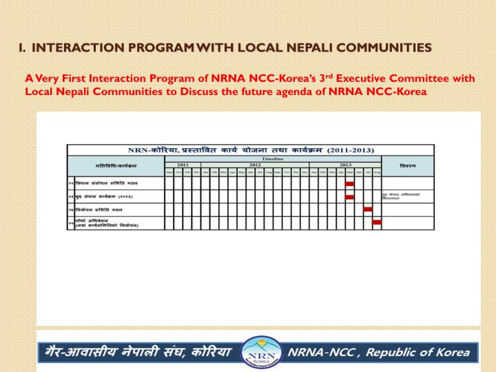 I.  Interaction program with local