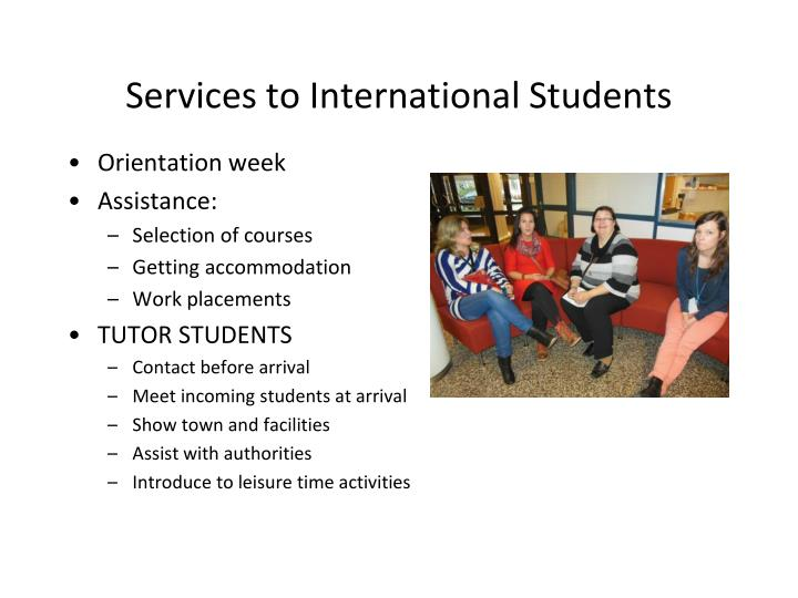 Services to International Students