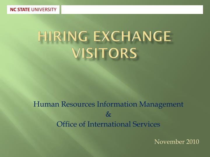 Hiring exchange visitors