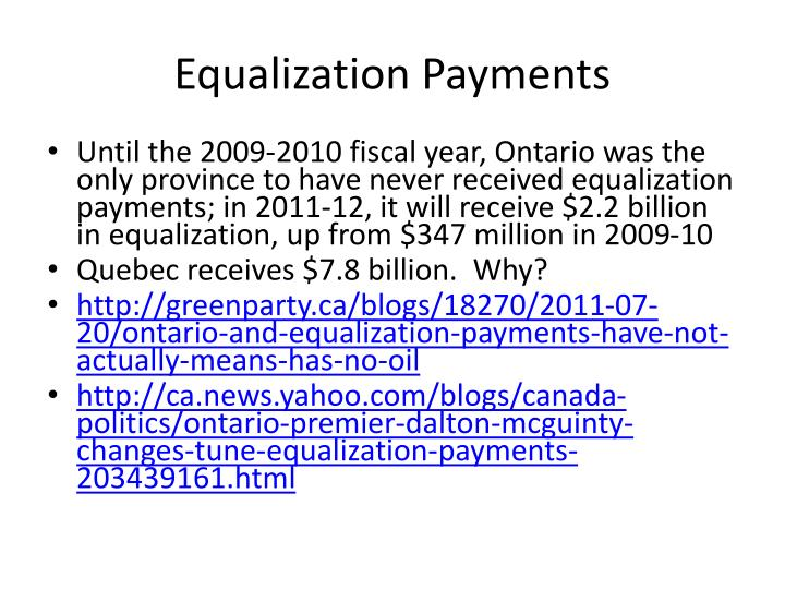 Equalization Payments