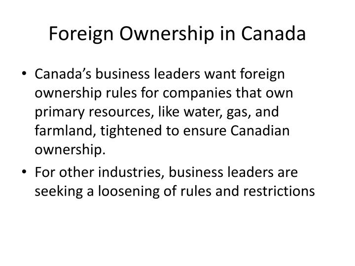 Foreign Ownership in Canada