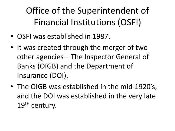 Office of the Superintendent of Financial Institutions (OSFI)