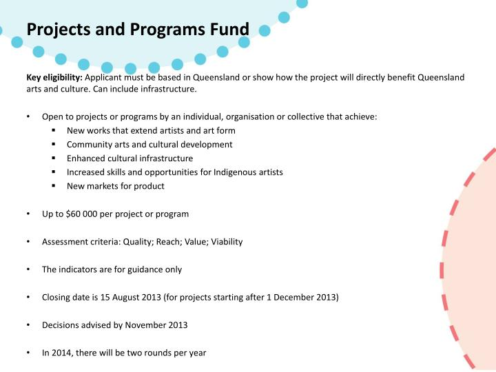 Projects and Programs Fund